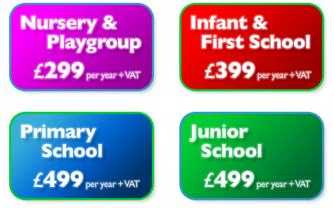Nursery & Playgroup - £299 : Infant & First School - £399 : Primary School - £499 : Junior School - £499