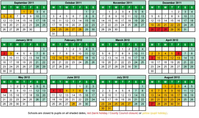 Term Dates 2011 - 2012