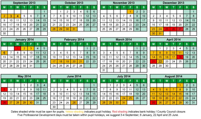 Term Dates 2013 - 2014