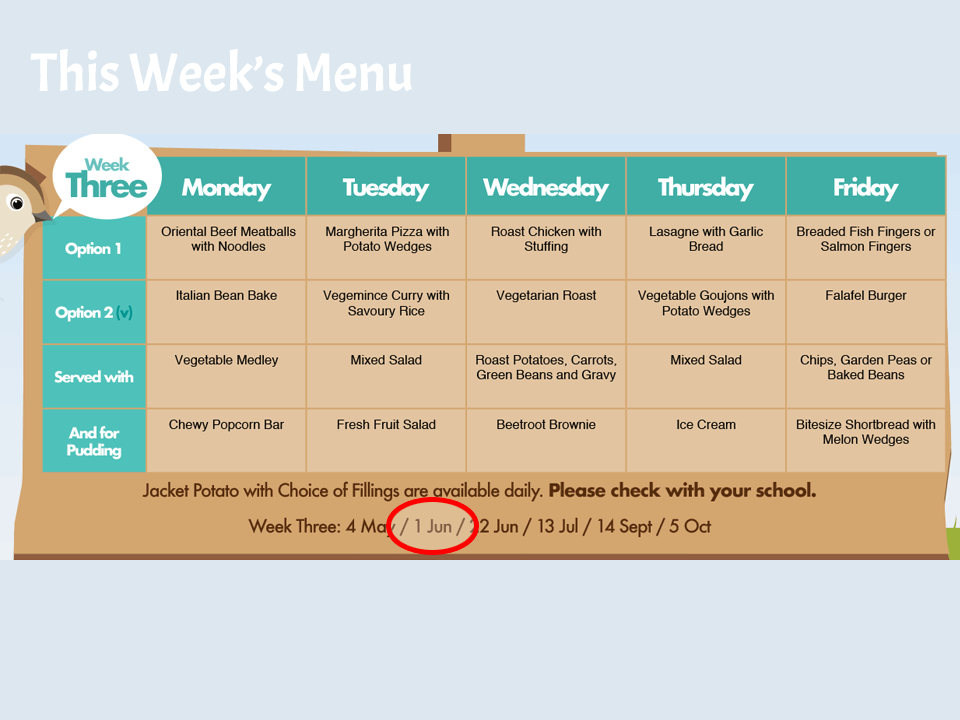 This Weeks School Dinner Menu